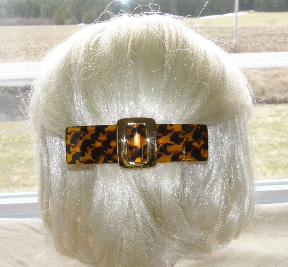 VTG HAIR CLIP GRIP BARRETTE HEAD PIECE TORTOISE PLASTIC GOLDEN METAL BELT SHAPE 30$