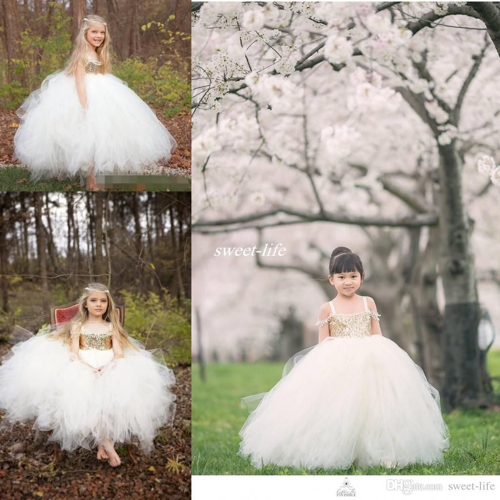 2016 New Princess Flower Girls Dresses For Weddings Gold Sequins Ball Gown…