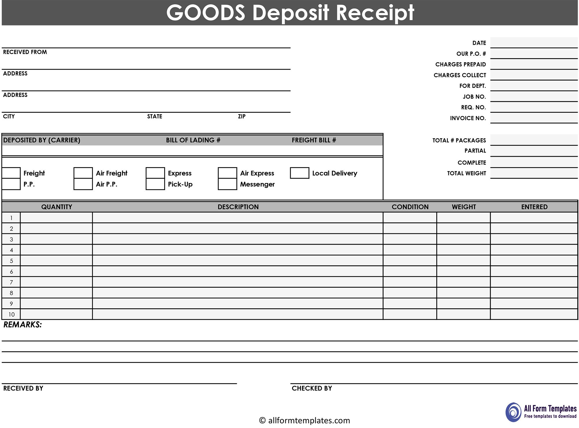 Deposit Receit Template Templates Receipt Template Template Printable