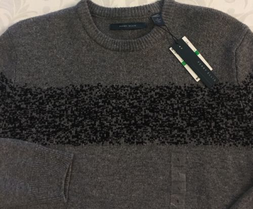 Men's Perry Ellis Gray Black Crew Neck 100% Lambs Wool Sweater L Large NWT New