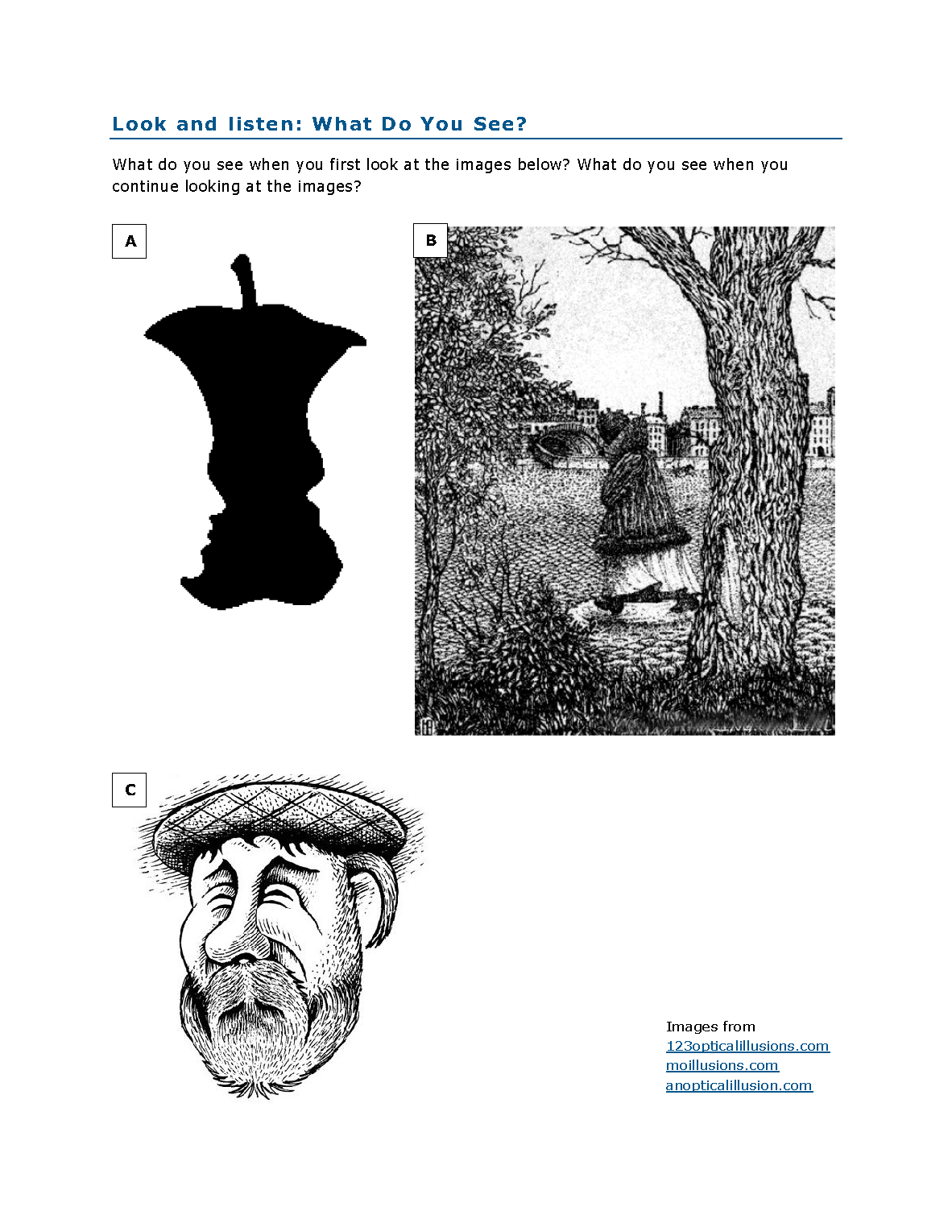 Distribute or project the What Do You See? handout to