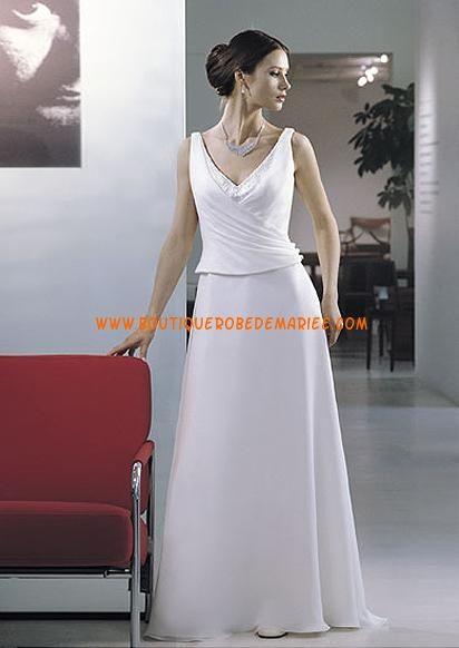 robe de mari e originale en deux pi ces col v wedding. Black Bedroom Furniture Sets. Home Design Ideas