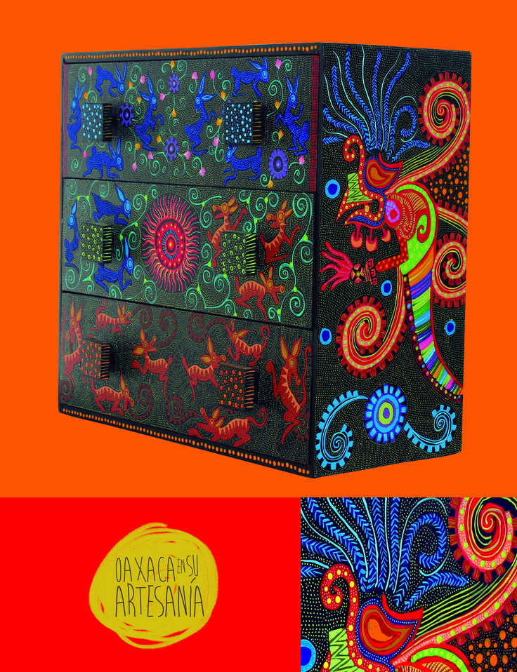 Mueble pintado a mano fondo color chocolate mesas - Muebles decorados a mano ...
