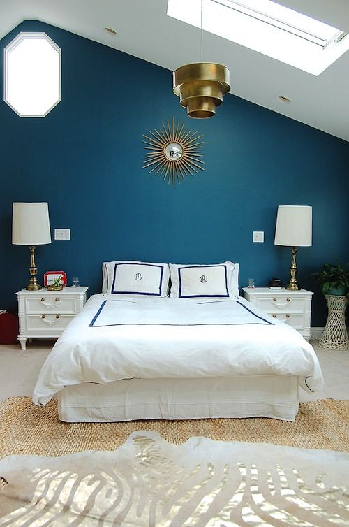 Living With Kids Michelle Turchini Design Mom Blue And Gold Bedroom Feature Wall Bedroom Blue Feature Wall Bedroom