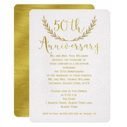 Faux gold calligraphy 50th anniversary invitation faux gold calligraphy 50th anniversary invitation anniversary gifts ideas diy celebration cyo unique stopboris Images
