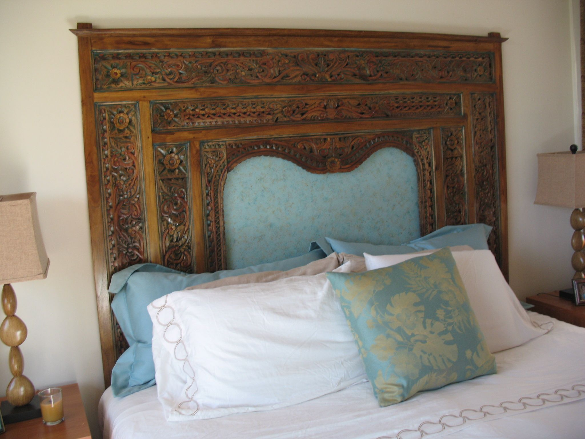 A Client S Master Bedroom Bali Style Indonesian Carved Bed Panel As Headboard From Gado Gado Indonesian Furniture Home Decor Bedding Carved Beds