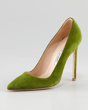 55eaf8512 Manolo Blahnik BB Suede Pointed-Toe Pump, Blue (Navy) on shopstyle.com