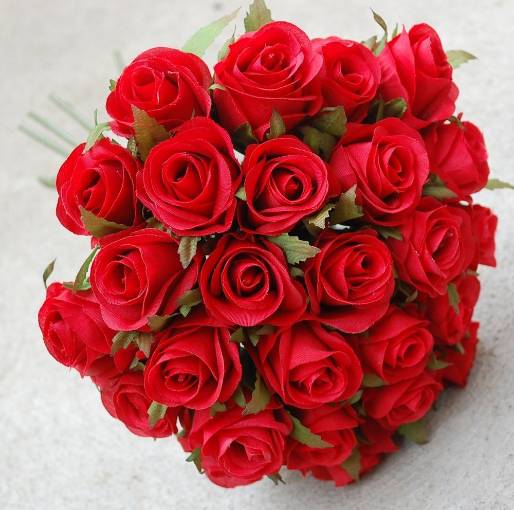 Silk Red Rose Roses Posy Flower Posy Wedding Bouquet Artificial Fake