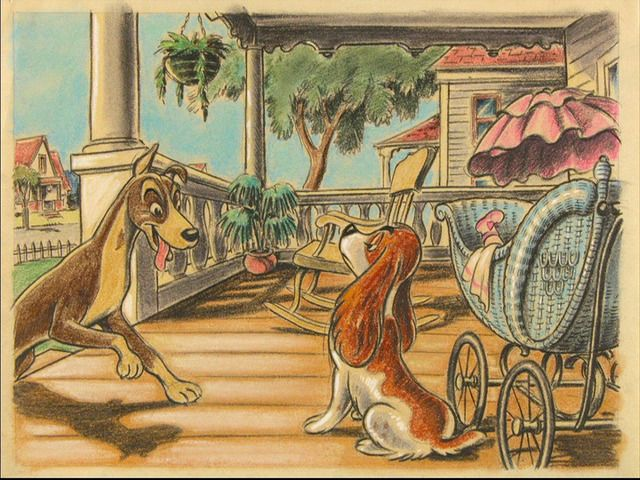 Animation art from Disneys LADY AND THE TRAMP 1955 with a slight emphasis on Joe Rinaldis s