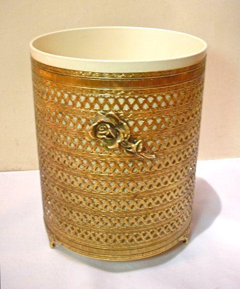 gold wastebasket Filigree