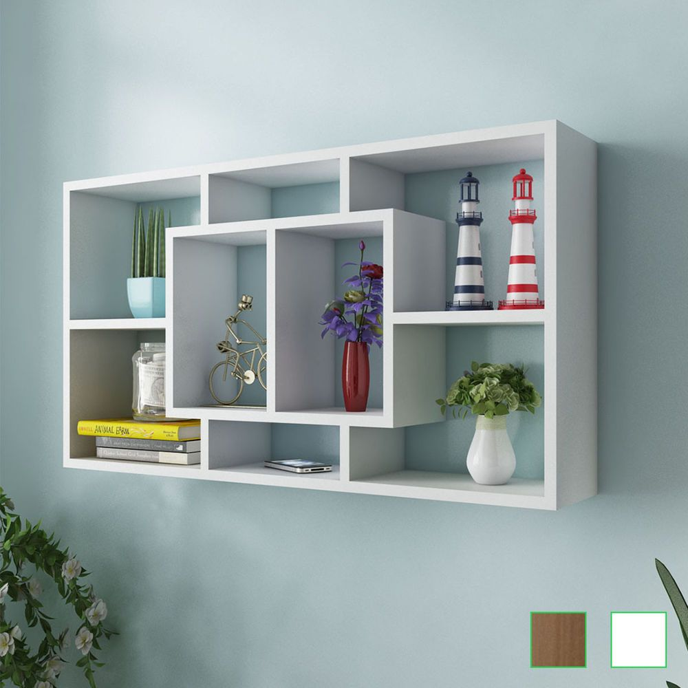 Floating Wall Storage Display Cabinet Unit Cubes Shelves 8 Compartment White Oak Wall Shelf Display Wall Storage Shelves Floating Shelves