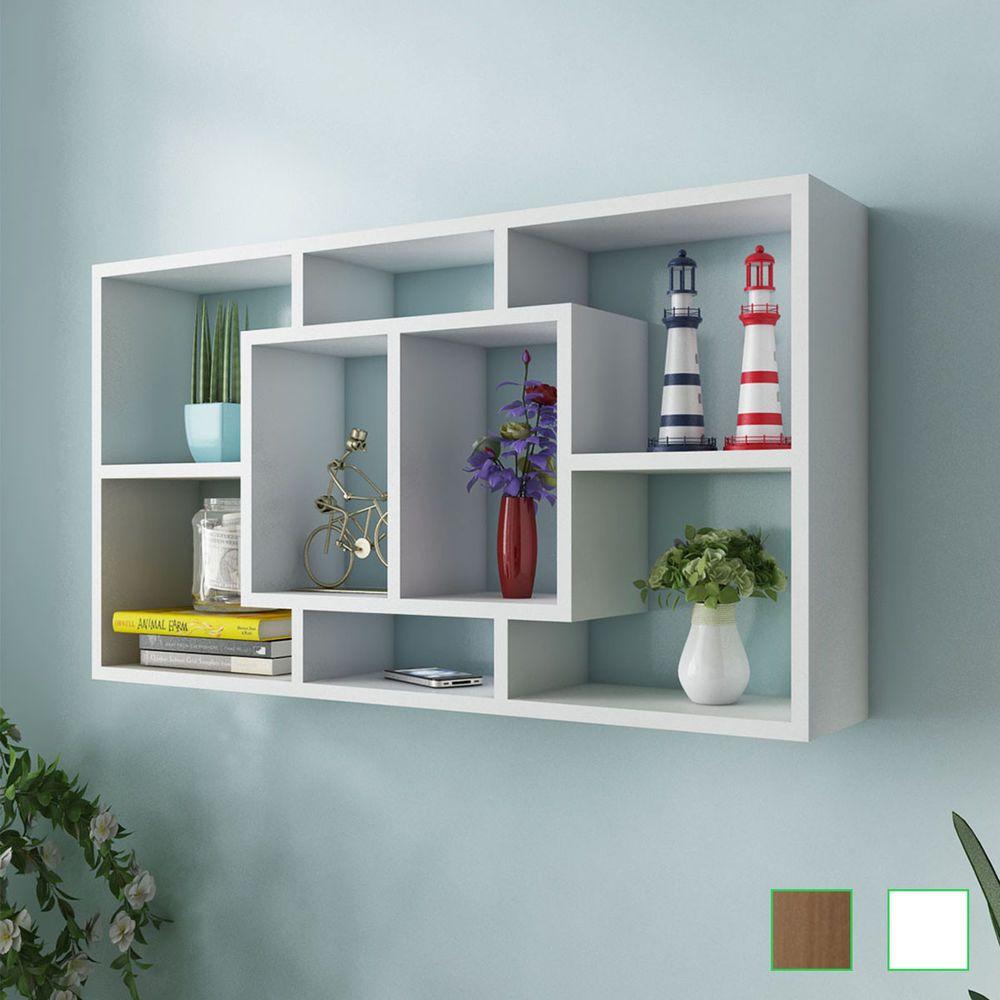 Floating Wall Storage Display Cabinet Unit Cubes Shelves 8 Compartment White Oak Floating Shelves Cube Shelves Shelves