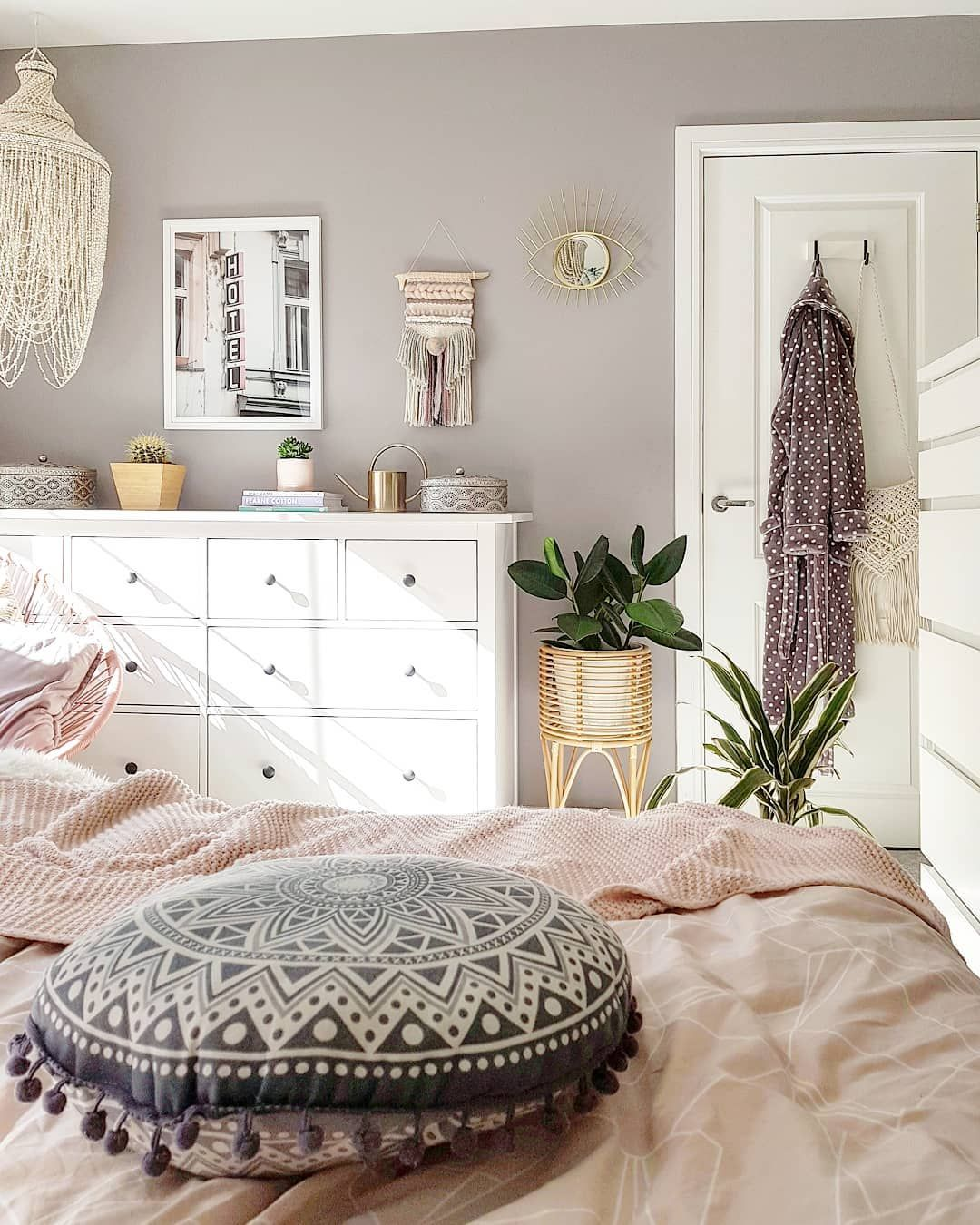 Cosy Boho Bedroom Scandi Boho plants rattan Scandi