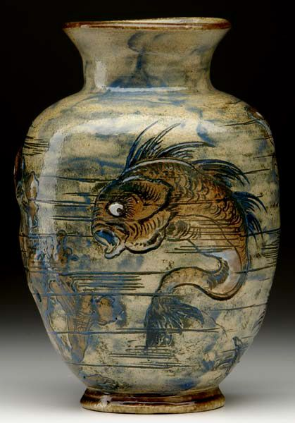 Martin Brothers Pottery Sea Life Vase Incised Painted Amp Glazed Stoneware Southall