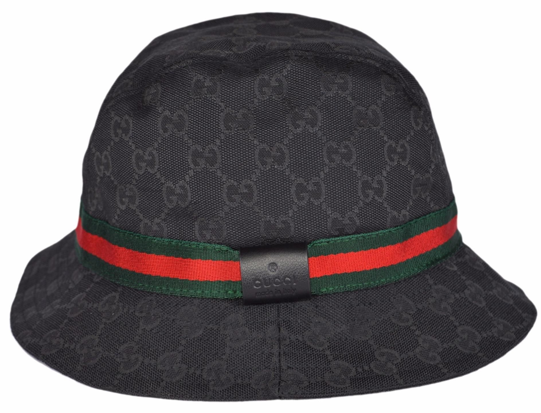 09d0dfe9cac5aa NEW GUCCI 200036 GG Guccissima Black Web Stripe Fedora Bucket Hat S 57.  Free shipping