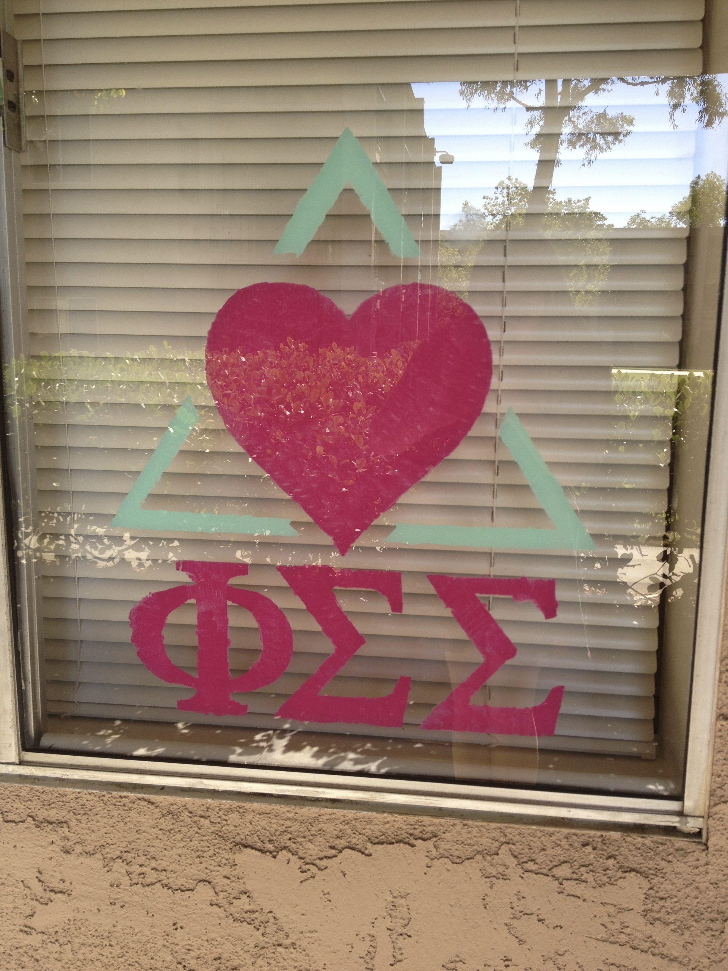 Phi Sigma Sigma Window Paint #PhiSigmaSigma  #PhiSig #DeltaEta #UniversityofDelaware #UD #UDel