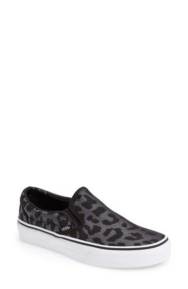 2088ed3a97d9 Exotic leopard spots float over the borrowed-from-the boys herringbone print  on an essential slip-on set on a classic white ...
