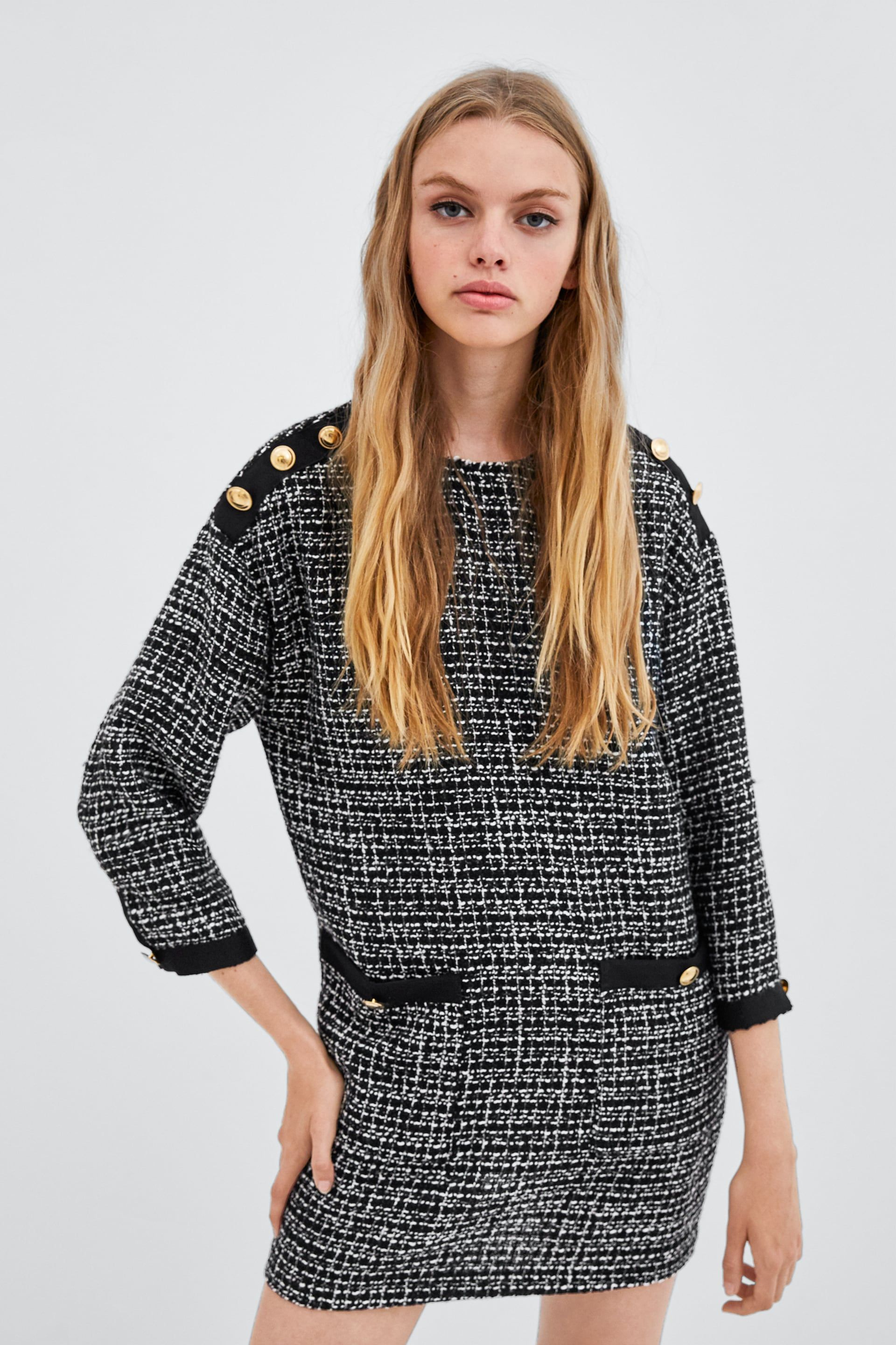 5785543d3760 Image 2 of TWEED DRESS WITH BUTTONS from Zara | Fashion in 2019 ...