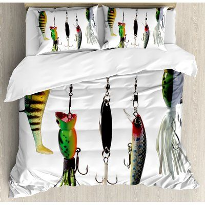 Fishing Baits Hobby Leisure Print Fish Quilted Bedspread /& Pillow Shams Set
