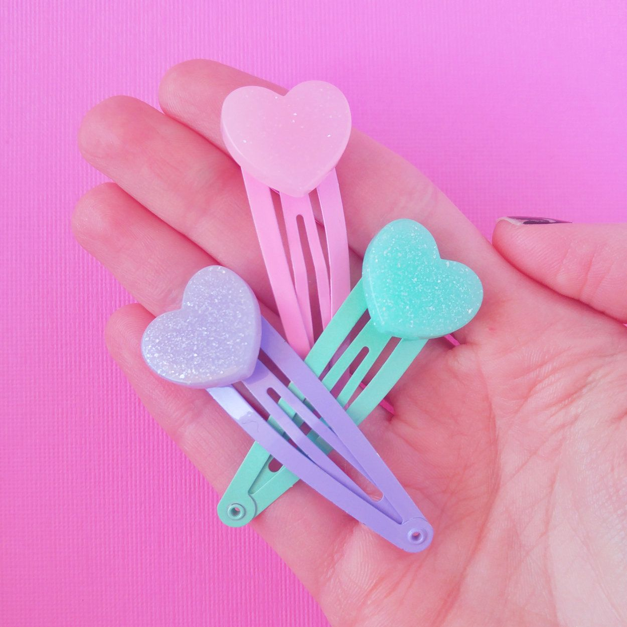 Cute Heart Hair Clip Set Kawaii Pastel Pink Purple Teal Fairy Kei Hair Clips Set Of 3 Kawaii Hair Clips Kawaii Hair Accessories Kawaii Hairstyles