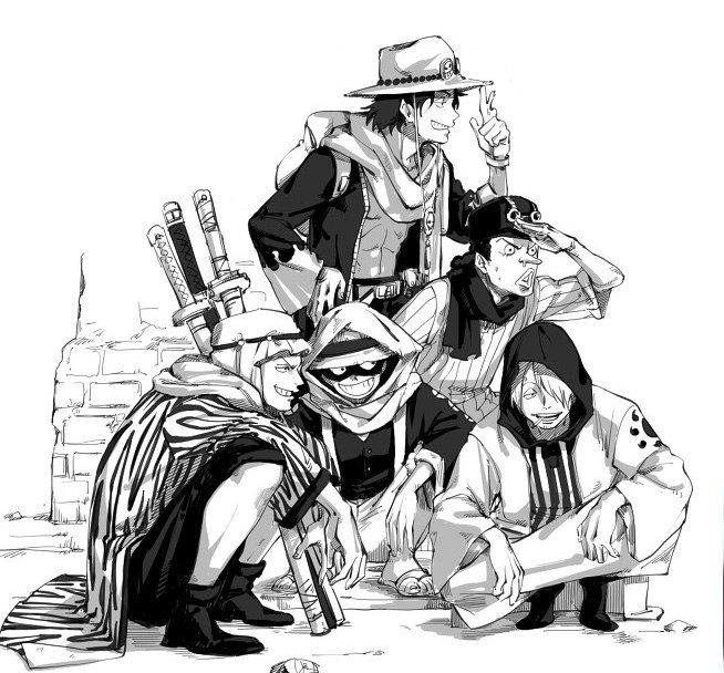 One Piece, Luffy, Zoro, Sanji, Usopp, Ace