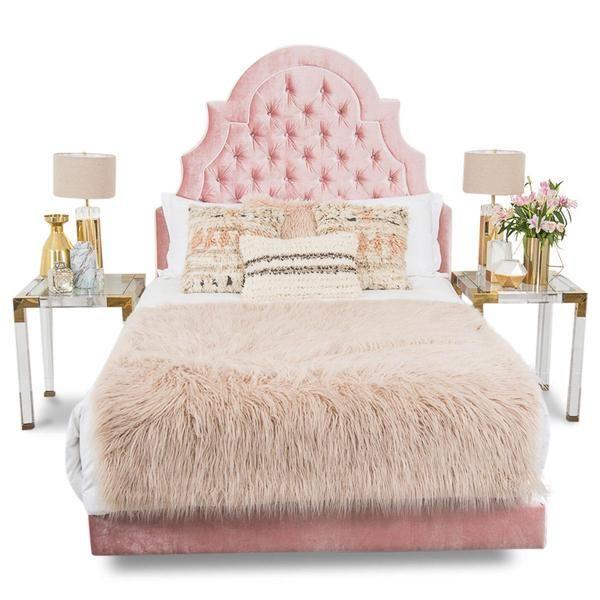 Marrakesh Bed in Blush Velvet | Muebles sala y Comedores