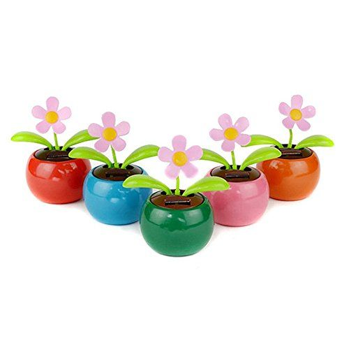 Ultaplaytmhome Decorating Solar Power Flower Plants Moving Dancing Flowerpot Swing Solar Car Toy Gift Hot Selling Read Flower Pots Solar Car Solar Power Diy