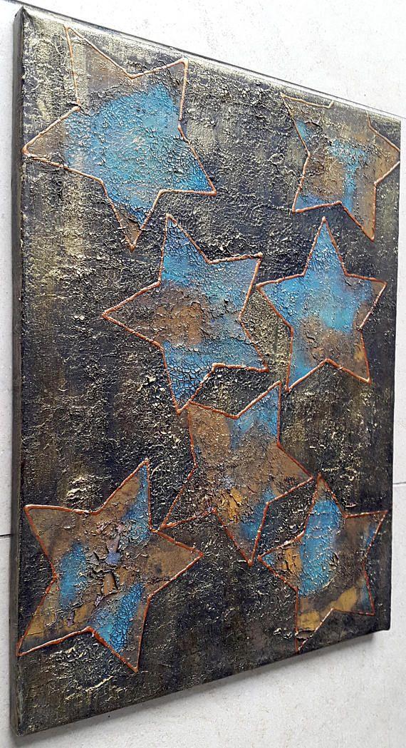 Kupfer Rost acrylbild leinwand 40 x 30 sterne rost türkis gold kupfer