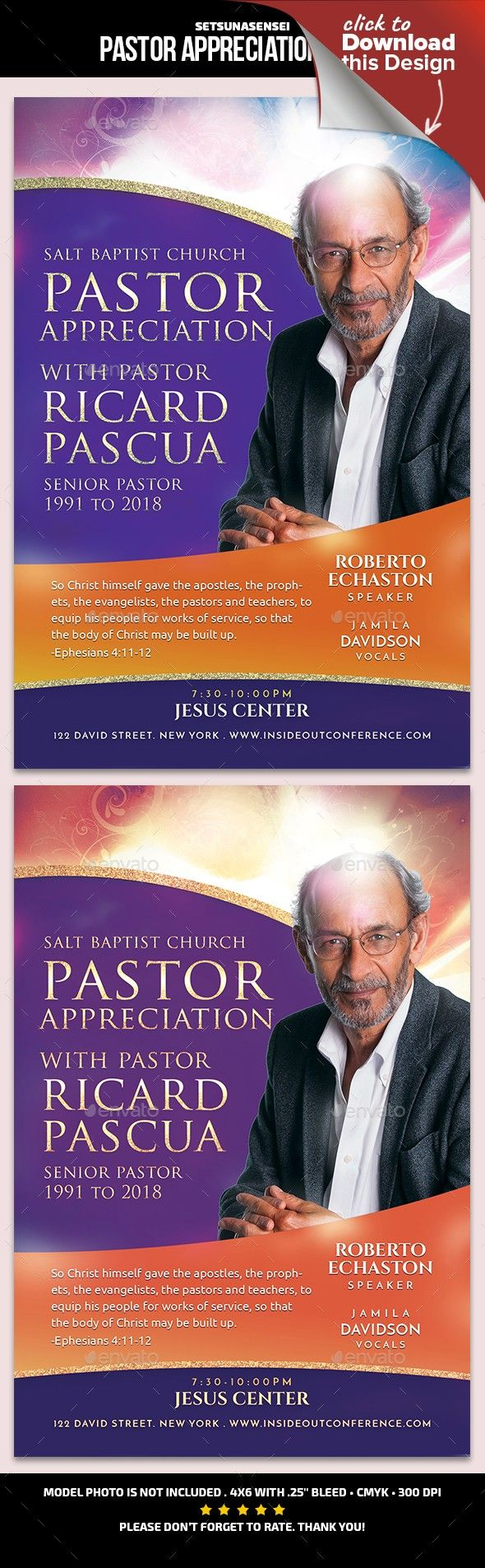 Pastor Appreciation Flyer Layout