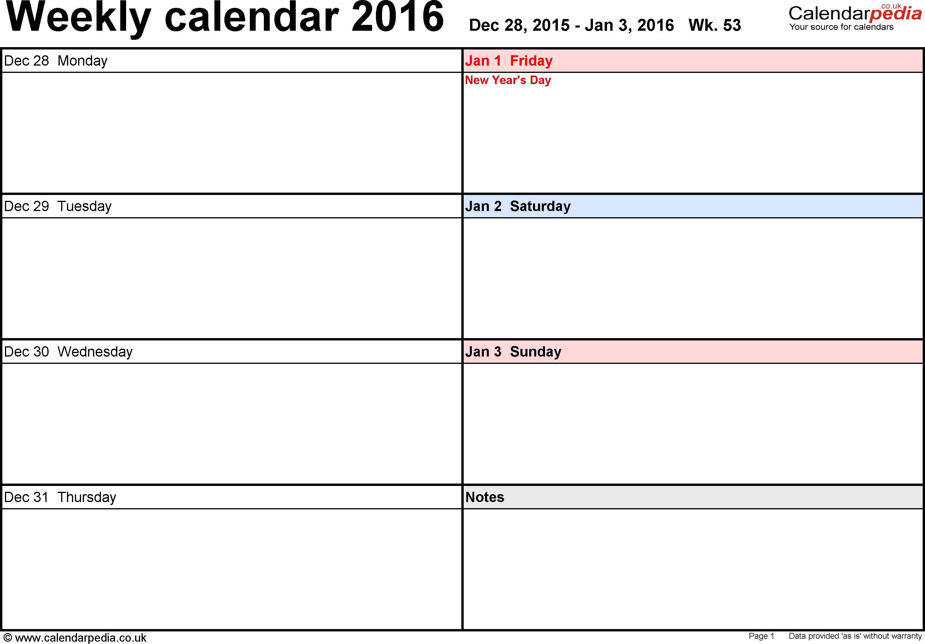 5x8 Calendar Planner Templates Printable
