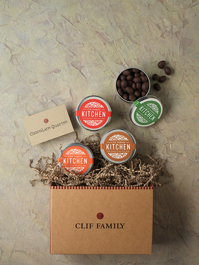 Dark Chocolate Quartet: Make your palate sing with this quartet of dark chocolate temptation. One tin each of our Dark Chocolate Sea Salt Almonds, Dark Chocolate Toffee Pistachios, Dark Chocolate Chipotle Almonds and Dark Chocolate Sea Salt Caramels comes beautifully wrapped in our signature gift box.  Shop www.cliffamily.com
