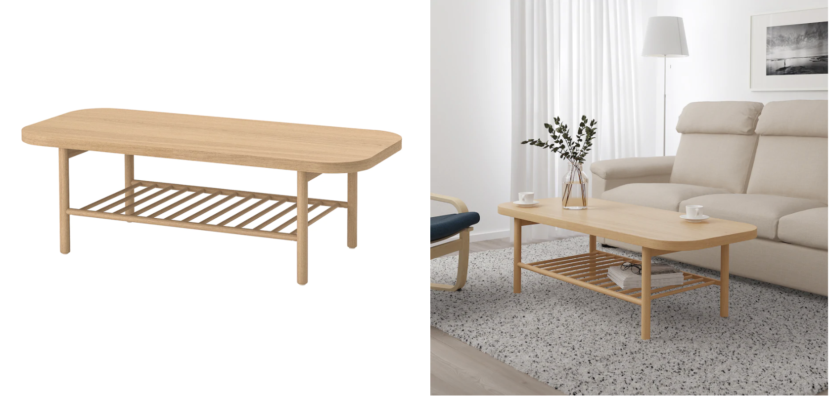 Listerby Coffee Table White Stained Oak 55 1 8x23 5 8 Ikea Coffee Table Coffee Table White Table [ 804 x 1676 Pixel ]