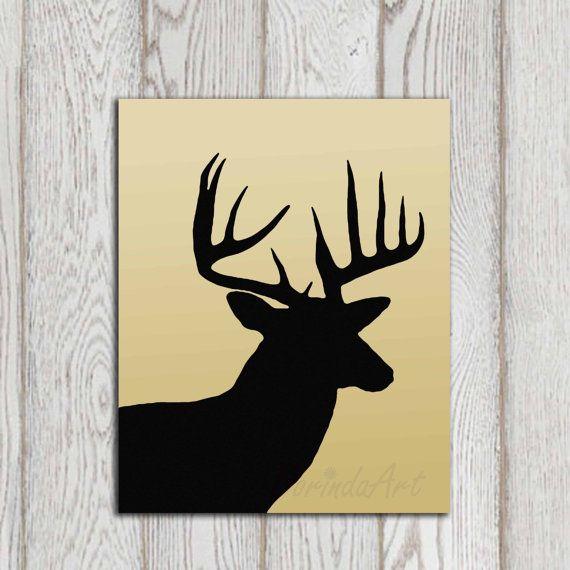 Deer art print Deer head decor Black deer silhouette by DorindaArt ...