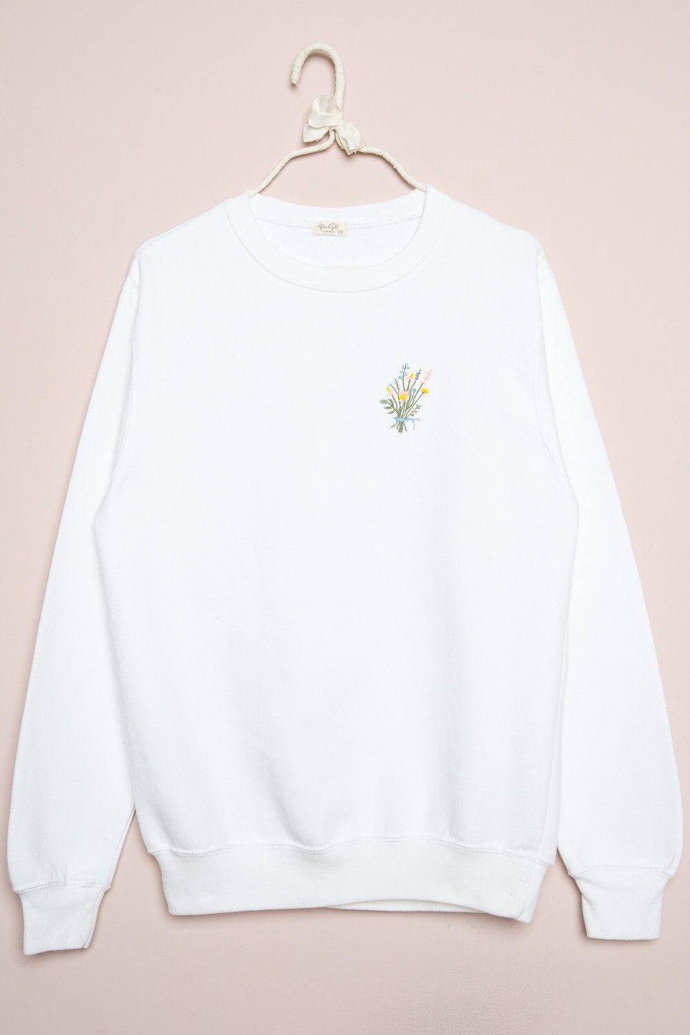 Brandy Melvile white full length Fleece Erica Bouquet Embroidery Sweatshirt