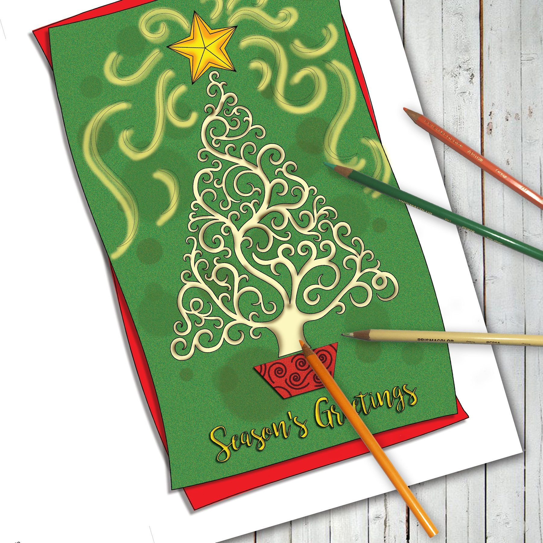 Merry Christmas Amp Holiday Greeting Coloring Cards