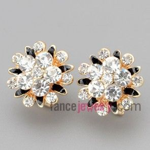 Cute stud earrings with zinc alloy decorated many black and white rhinestone with flower model