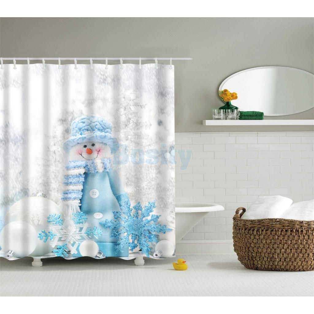 3d Shower Curtain Fabric Bathroom Liner Hanging Home Decor Snowman