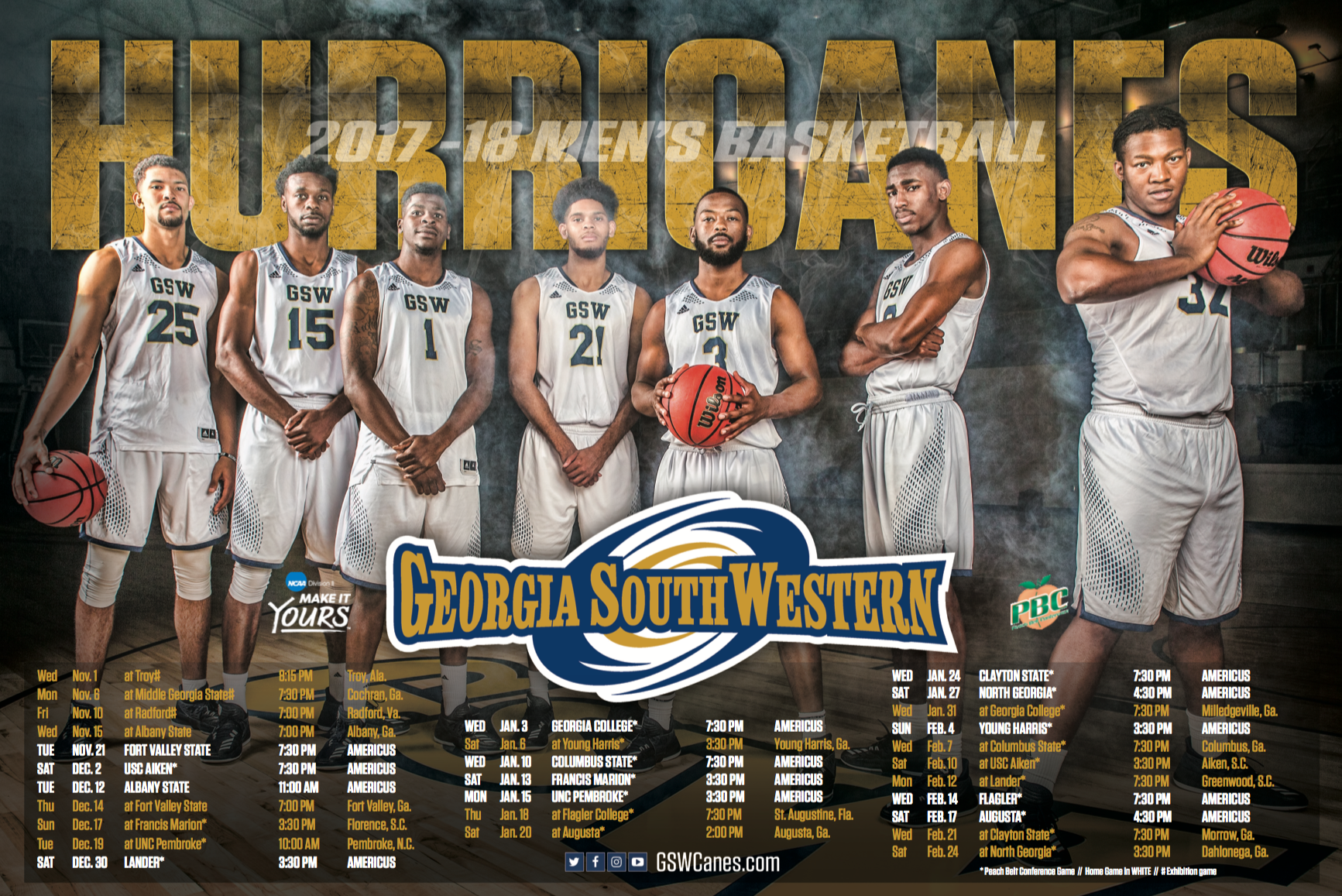 Georgia Southwestern Mens Basketball Schedule Poster
