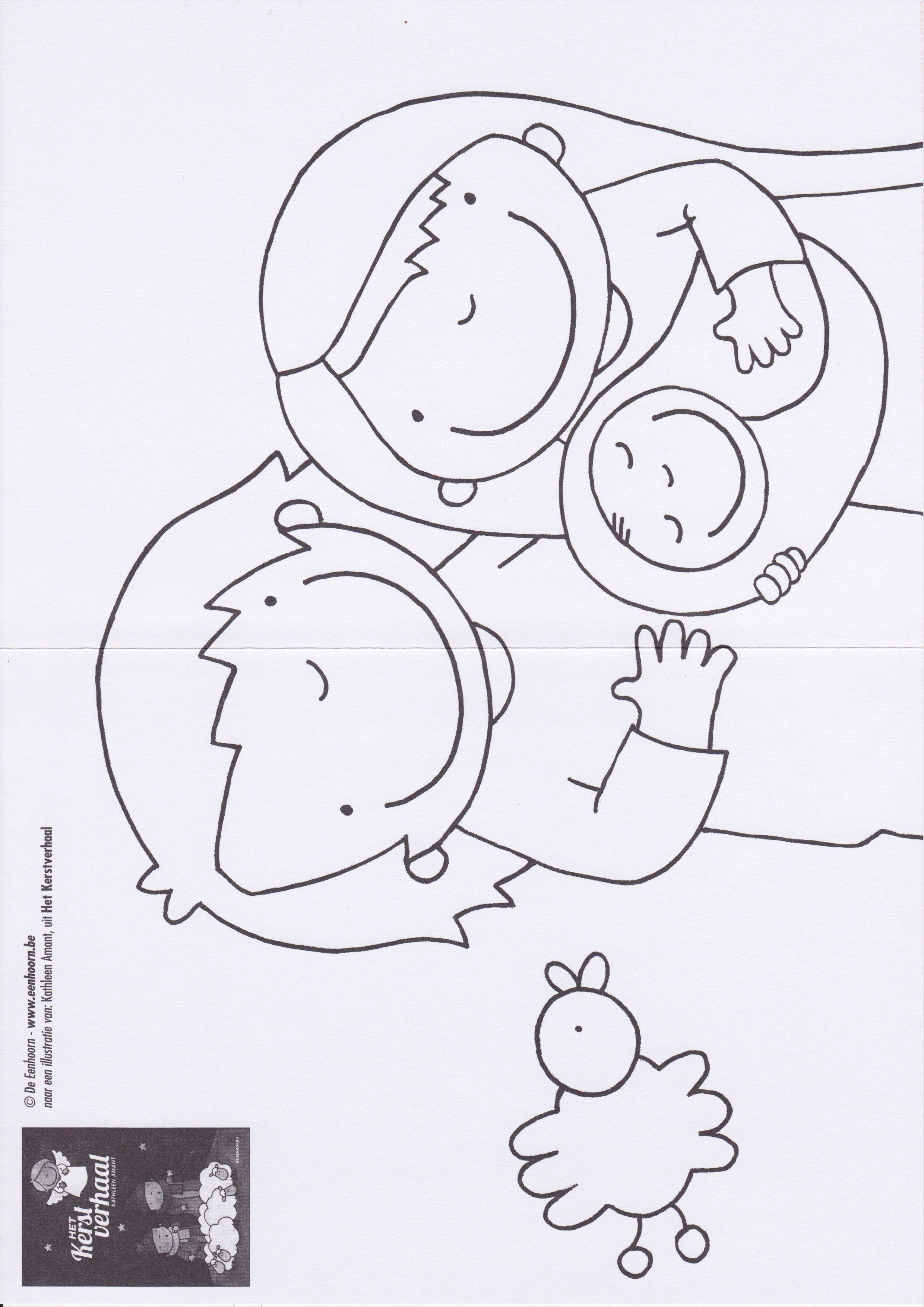 Kerststal Figuren Kleurplaten.Kleurplaat Jozef En Maria Kerstverhaal School Pinterest Tel