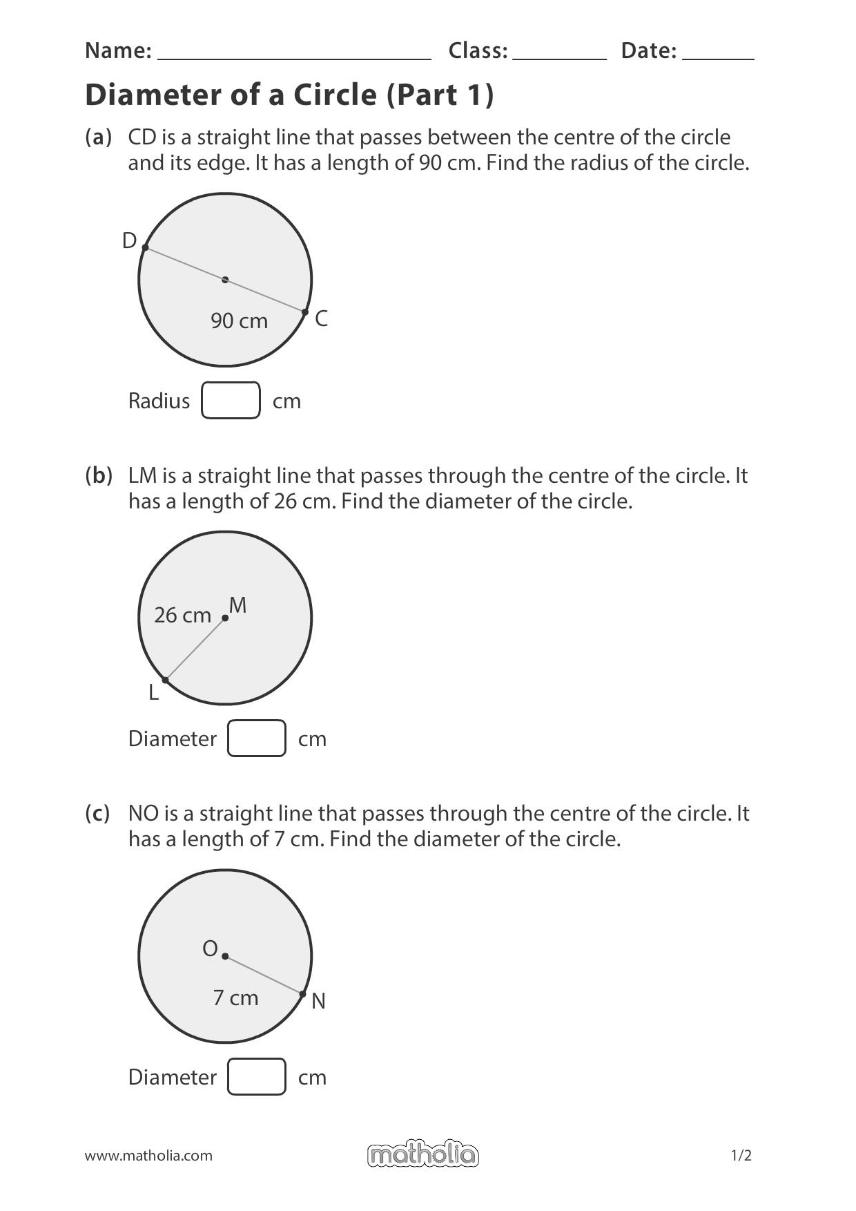 Diameter Of A Circle Part 1 In