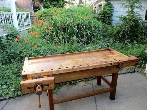 Awe Inspiring Large Antique Hardwood Carpenters Craftsman Workbench With Caraccident5 Cool Chair Designs And Ideas Caraccident5Info
