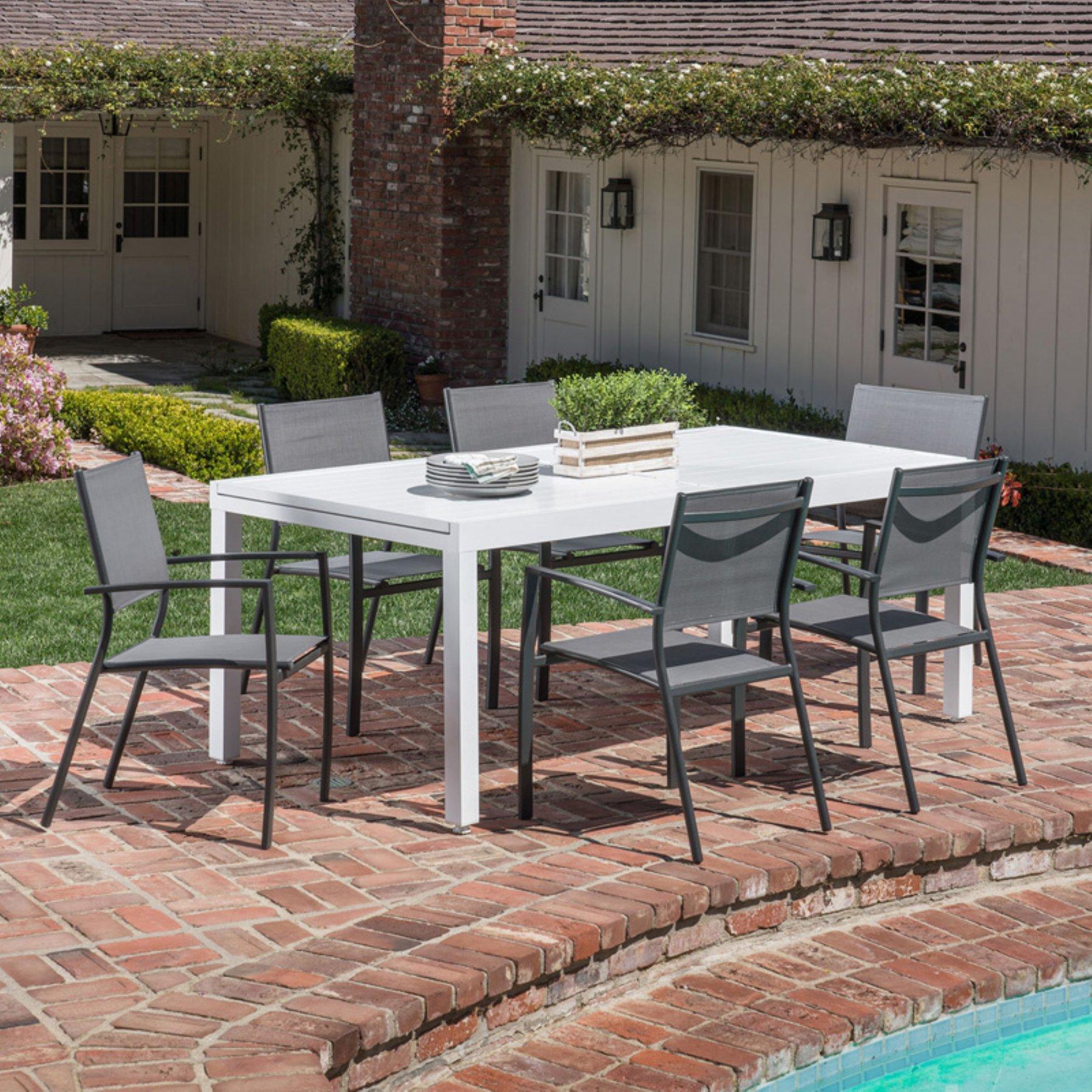 Hanover Outdoor Del Mar Aluminum 7 Piece Outdoor Patio Dining Set