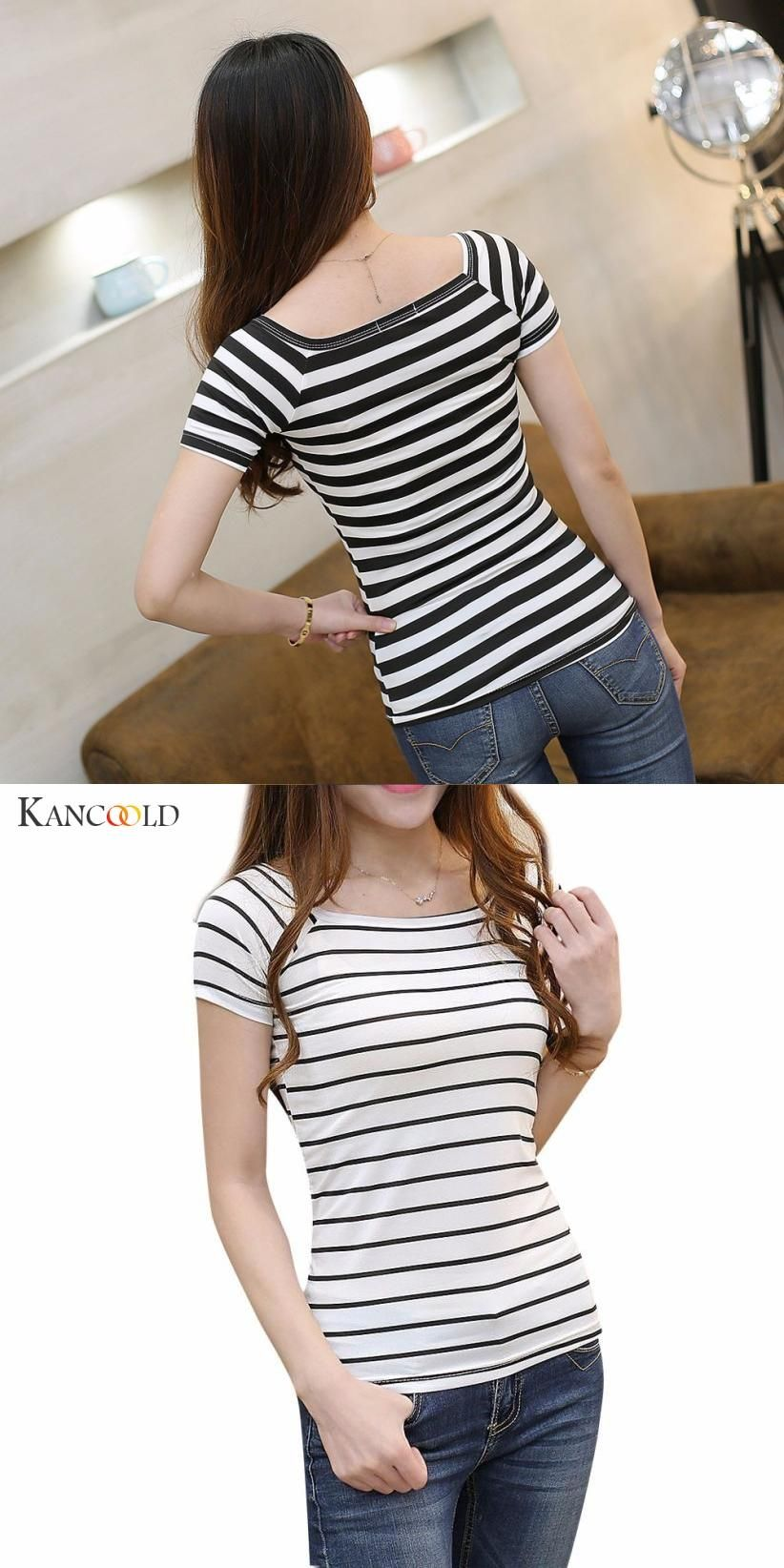 20d0df2002878 Discover ideas about Sleeve Styles. Fashion Women Short Sleeve Tshirt Black  White Striped Casual T-Shirt Female Summer Girls Cotton ...
