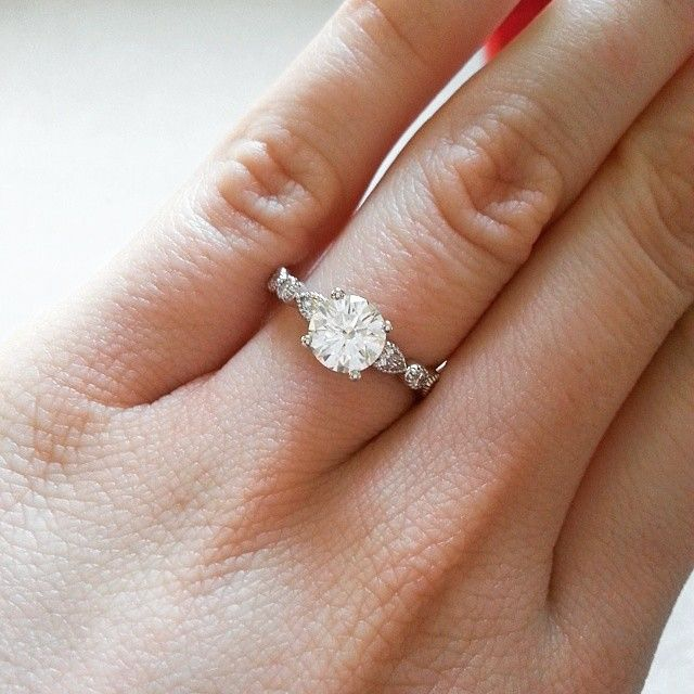 14K White Gold Round And Marquise Shape Diamond Engagement Ring