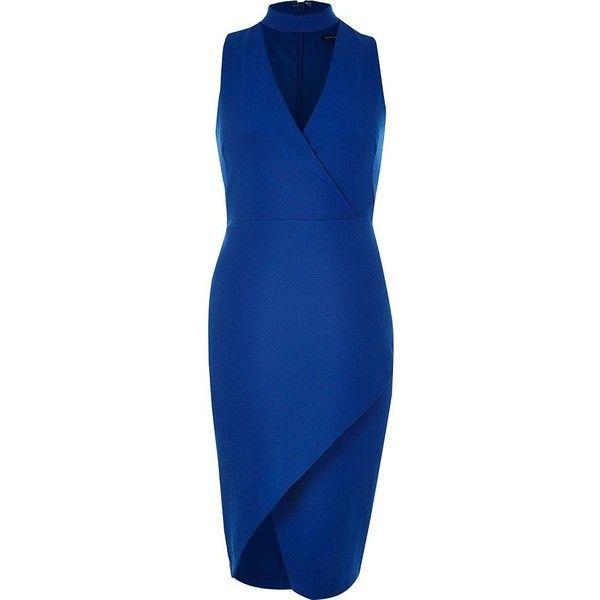 River Island Blue wrap choker bodycon dress featuring polyvore ...