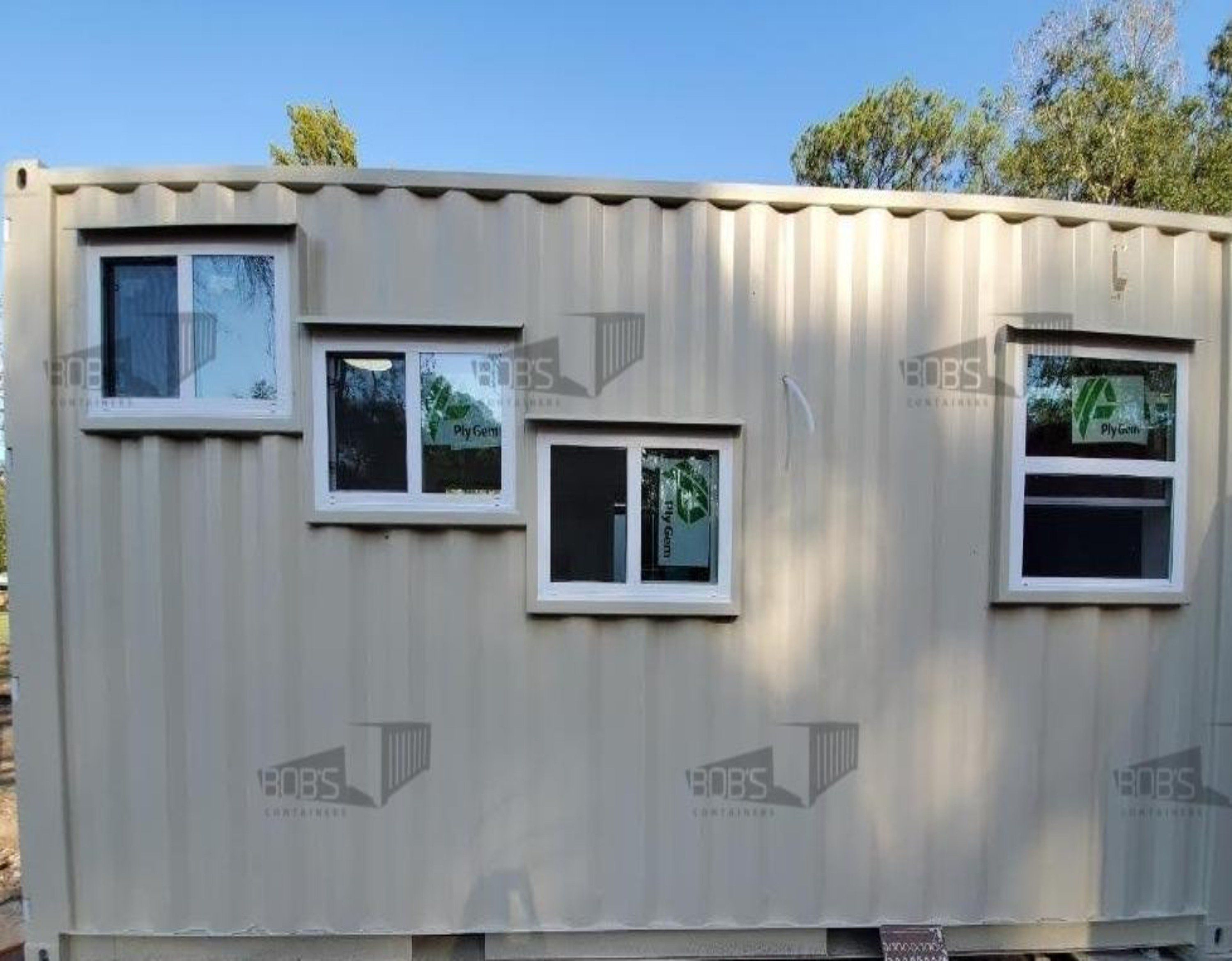 20 ft Container - The Nacogdoches Model - Shiplap / 10 ft Deck w/ Stairs / Off-grid Plus: Solar & Water