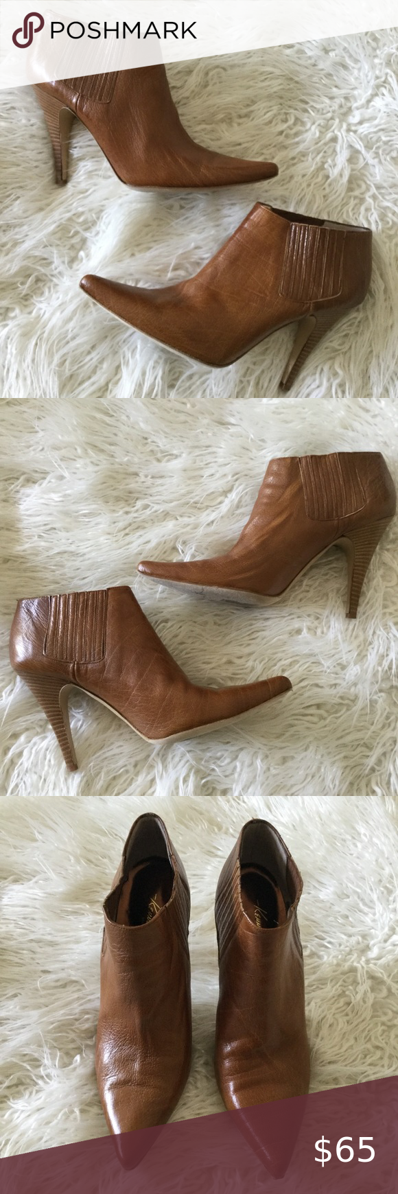 Kenneth Cole Tan Leather Pointy Toe Ankle Boots