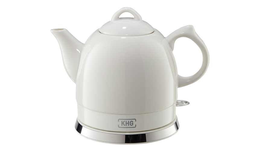 Khg keramik wasserkocher wk 080k w gefunden bei k che for Wasserkocher retro design