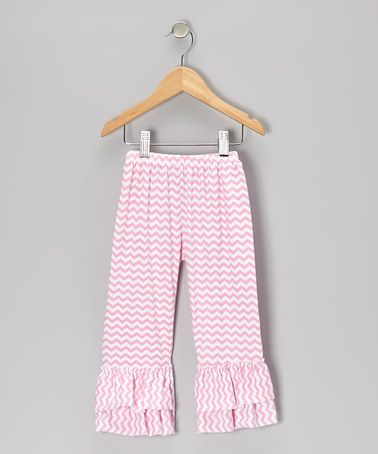 Take a look at this Pink Zigzag Ruffle Pants - Infant, Toddler & Girls on zulily today!