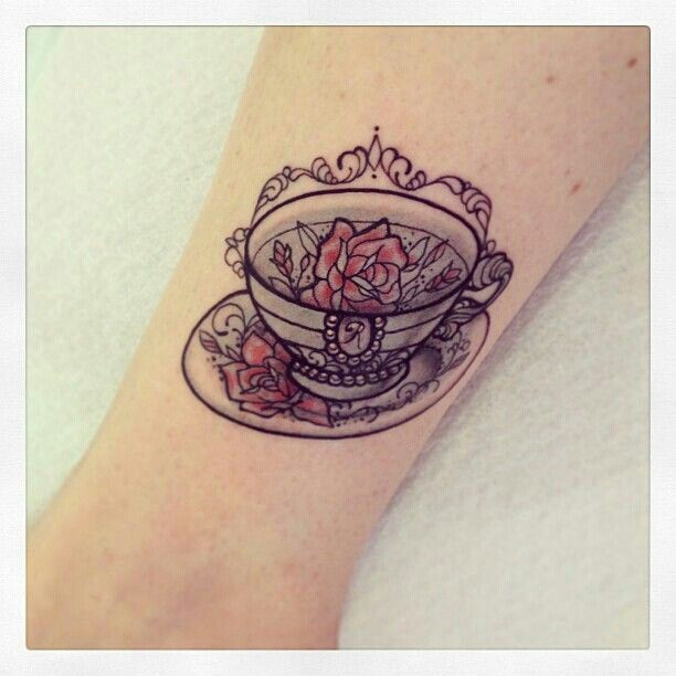 Alice in Wonderland Teacup Tattoo On Leg | Tattoo Ideas | Pinterest